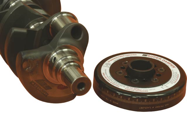 The Pankl crank uses  a dual-keyway big-block snout and a custom ATI damper that also has a Mopar bolt pattern for the blower pulley. As a result, Grade 8 all thread and a custom washer were needed to retain it.