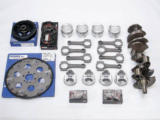 This is the upgraded Powerhouse rotating assembly kit complete with the crank, hypereutectic dished pistons, resized rods, rings, bearings, balancer, and flexplate. This kit also includes a complete gasket set, and the rotating assembly has been balanced.