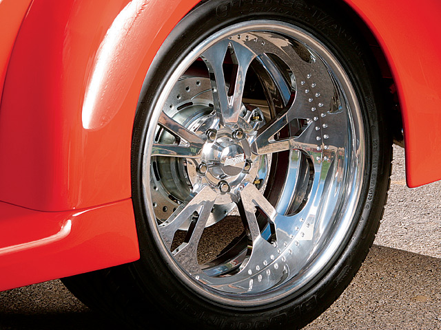 What high-end street rod would be complete without a set of one-off wheels? These finely carved billets were made especially for Denny by Bonspeed of Mesa, AZ.