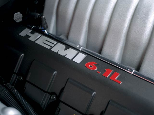 The new 6.1L Hemi will be available soon in the Chrysler SRT-8 based on the 300C. The engine block is painted Street Hemi Orange.