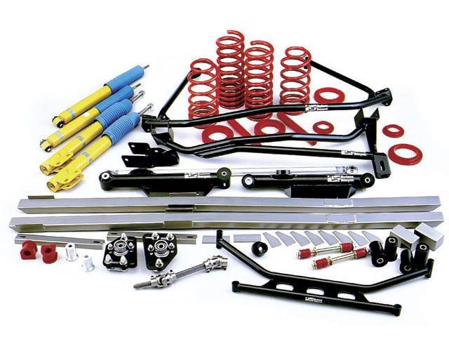 The bulk of the suspension modifications consisted of a Maximum Motorsports' Road & Track box. It included a strut-tower brace, lower K-member brace, heavy-duty rear lower control arms, polyurethane front control-arm bushings, poly sway bar bushings and end-links, full-length subframe connectors, a solid steering shaft, aluminum steering-rack bushings, caster/camber plates, a panhard bar, springs, struts, and shocks. All these parts are legal under the CMC rules.