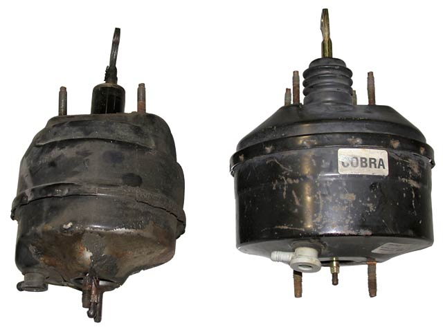 A larger twin-diaphragm power booster from a '94-'95 Cobra (right) was swapped for the stock Fox unit on the left. It will provide more assist and better pedal feel with the larger-bore Cobra master cylinder designed to work with the PBR calipers.