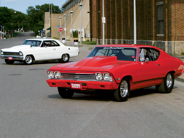 The Brynteson family maintains a pair of street/strip Chevys that can click off sub-10-second quarter-mile times at will. Bob owns the big-block-powered '68 Chevelle, while son Steve lays claim to the small-block Nova. On nitrous, the Nova will turn 9-second quarters. The Chevelle is good for 8.70s.