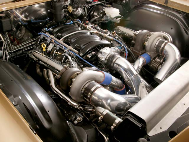 The twin-turbo Gen IV small-block is the centerpiece of the car. With over 1,000 hp on good gas, the Toronado's heft is no longer an issue.