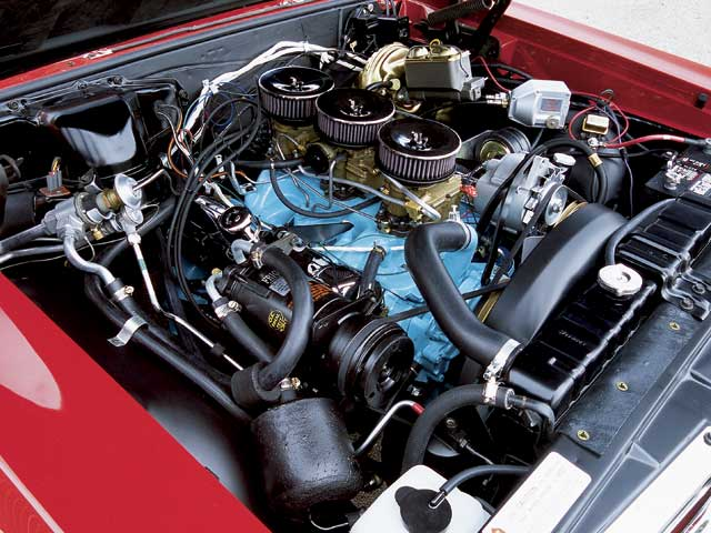This engine appears to be restored to factory issue, but truth be told,it hides an overbored 421 block with a 455 crank down under. Up top,however, it's all '64 GTO, right down to the casting codes andstampings.