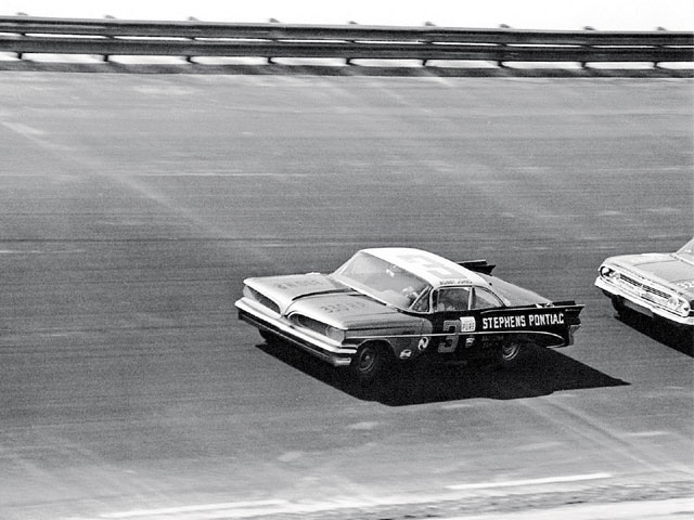 On February 14, 1960, Bobby held First Place at the Daytona 500 with the Smokey Yunick-built No. 3 '59 Catalina. The Ray Fox car was unable to pass him. His commanding lead was lost, however, when his rear window released at high speeds, forcing him into a spin with nine laps to go.