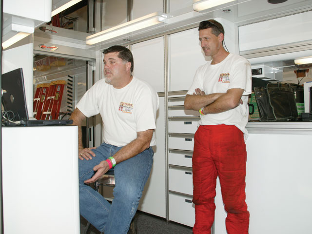 Tim O'Hare (right) hired engine builder and tuner Terry Marrow (left) to help sort out the car at Bradenton in preparation for the new racing season.