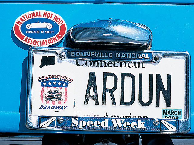 Fittingly, Ron's license plate reads ARDUN. Other than perhaps Dave Lukkari and his Ardun-powered T, we don't know anyone with more miles on an Ardun-powered roadster. NHRA tag topper is a reminder that Ron drag-raced this roadster when it had a blown Flathead. He consistently topped 101 with 13.20-second e.t.'s.