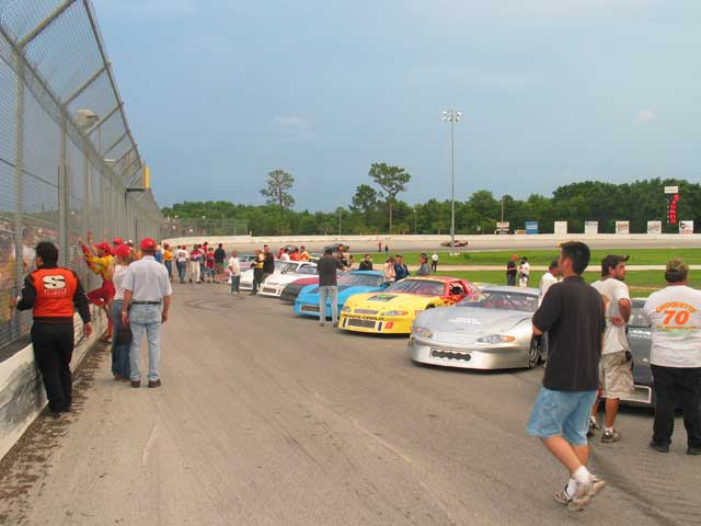 The 21 cars in the night's 125-lapper are gathered on the frontstretchfor opening ceremonies.