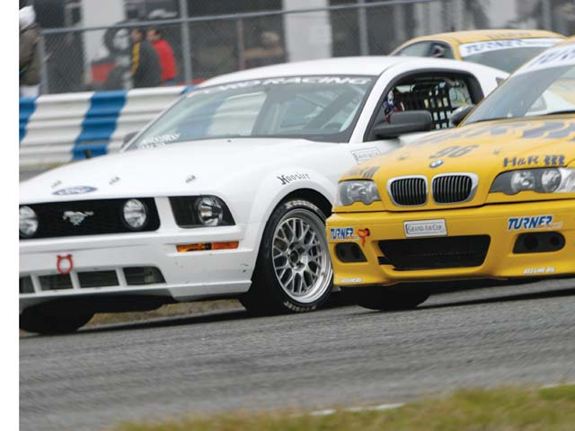 The Blackforest Motorsports No. 5 Mustang battled with Turner Motorsports' BMW M3s to capture the first Grand-Am Cup overall win for the Ford Racing FR500C in its debut race at Daytona.