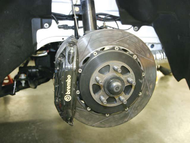 The stock Mustang brakes are upgraded on the FR500C with 14-inch rotors and Brembo four-piston calipers on the front. Expect these parts to be available in an over-the-counter kit from FRPP later this year.