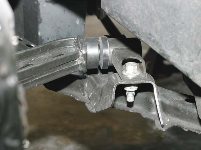The Mustang's basic front and rear suspension geometries are retained in the FR500C, illustrating the showroom-stock nature of the car and series. However, the front lower control arm's rear bushings are replaced with solid bushings.