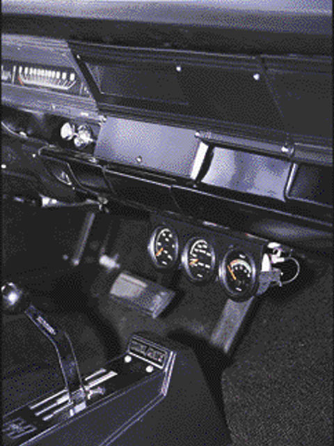 John Balow of Muscle Car Restorations personally fabricated the radio-delete plate. Also shown is the famous Hurst Dual-Gate shifter which came in Dodge and Plymouth Super Stockers and Hurst Oldsmobiles.