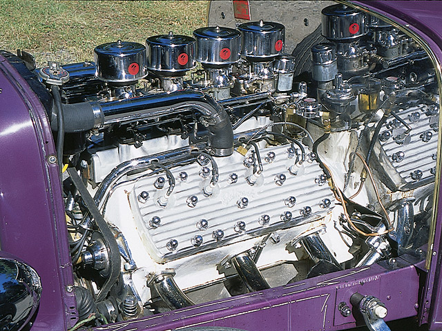 The 286-cid flathead started life as a race motor for Fred's late cousin Russell. It features all the period tricks: oversized valves, a port and relief job, Johnson adjustable lifters, a full race Harman & Collins cam, and an H & C dual point, dual coil distributor. Heads are Edelbrock; the piece de resistance is a four-carb Sharp intake with four 97s. Fred says he wanted to one-up the guys with three-carb manifolds.