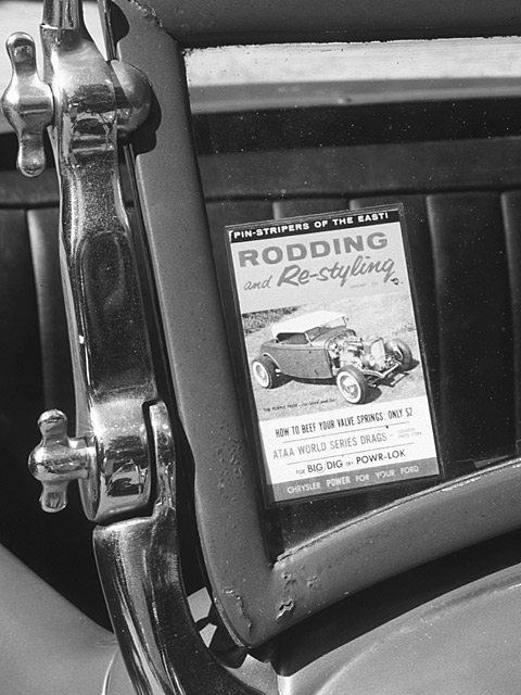 Fred's Deuce was featured on the cover of Rodding and Re-styling in 1958. That windshield was chopped and painted because...