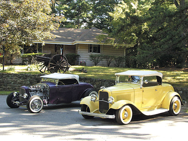 Fred Steele's venerable '32 highboy sits in front of his home in Maynard, MA, along with a full-fendered, small-block-powered Deuce he assembled from parts 40 years ago. They're guarded by an 1898 Krupp 77mm cannon Fred bought when a gun shop owner he knew retired. Fred's family has fought in every U.S. conflict since the Revolution, and he's inherited guns from all his ancestors. Don't worry, the Krupp can't fire anymore, but Fred's still got plenty of energy.