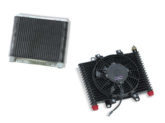B&M Racing Performance produces stacked plate oil coolers (left) thatare designed to be both lightweight and virtuallyindestructible--perfect for racing. In applications where getting enoughairflow is a problem, it also produces cooler air with integrated fans.