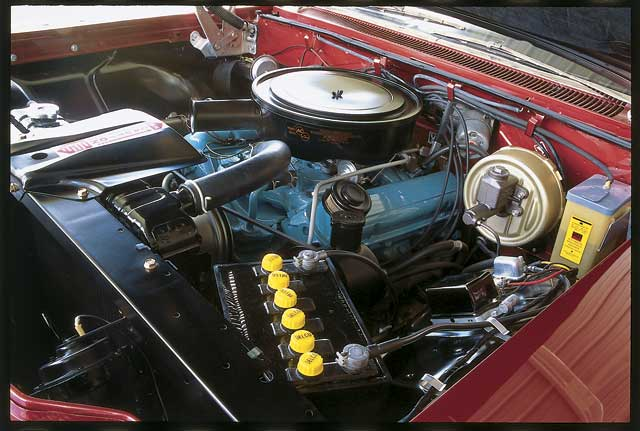 This 303hp 389, which sported a 10.25:1 compression ratio and a 4 -barrel carburetor, was the base engine for the Bonneville. Air conditioning was not checked on the optional equipment, but just about all of the other common luxuries that we enjoy today were chosen.