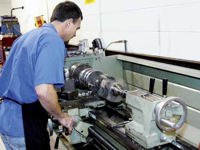 Instead of drilling holes in the ends of the counterweights, AutomotiveSpecialists prefers to turn down the ends of the counterweights in alathe.