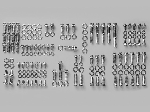 Aftermarket bolts should be used when replacing a manifold as they are higher quality with a smaller head size, and in the case of ARP bolts ordered polished or chrome. Pictured is a complete engine dress-up kit that makes an outstanding final touch.