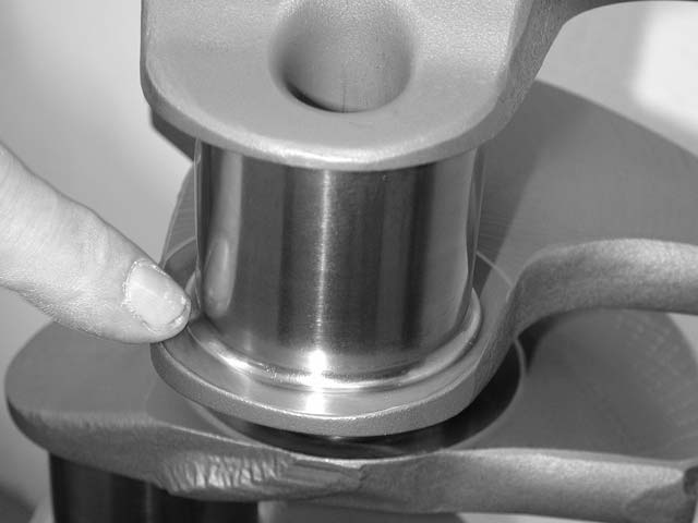 High-performance aftermarket cranks typically have beefy fillet radiuses in the corners of the journals for strength, as shown here. Stock cranks normally have a grooved undercut.