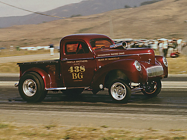 Remember the Gasser Wars of the '60s? Willys pickups, such as the Panella Brothers' '41 out of Stockton, CA (pictured here at Half Moon Bay Drag Strip in a mid-'60s photo by ace lensman Bob McClurg), were almost as famous as their smaller Model 77 and larger '41 coupe brethren. But their stubby looks, accented by a too-small entrance and egress to the truck cab, make the original configuration too confining for a street rod/kit car project.