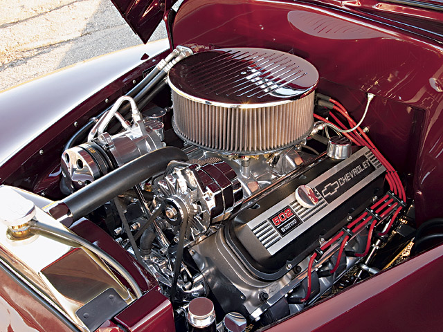 If your hot rod has the room, a Chevy big-block always looks impressive under the hood. This 502ci crate engine produces a matching 502 hp straight out of the box. Mild performance pieces can easily push the power up to the 600hp mark.
