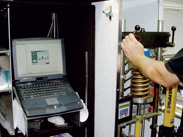 Computerized spring rating apparatus provide speedy and accurateanalysis of the spring rate for a specific range of compression (i.e.,in the working range of the spring based on its location in the car).