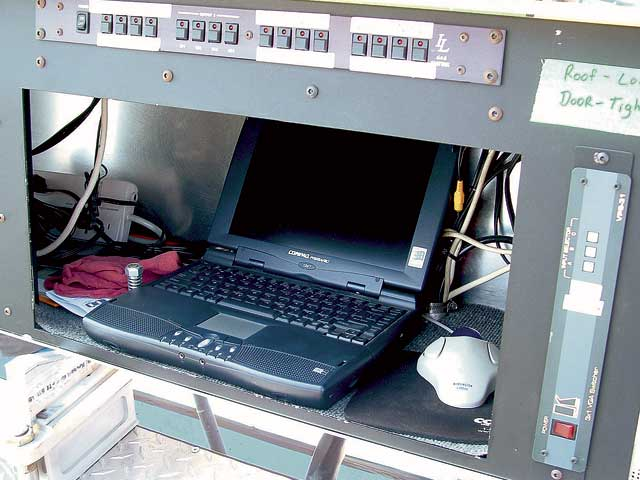 This computer is located atop the pit cart and used during the race toplan pit strategy as well as keep track of track position and lap timesby being linked to the scoring system at the track.