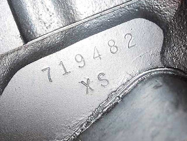 XS--for 1967 denotes a GTO Ram Air 400 engine with four-speed trans. Note the engine serial number 719482 is higher than the changeover number of 646616 for the No. 97 heads. This Goat has the even-later-released No. 997 heads.