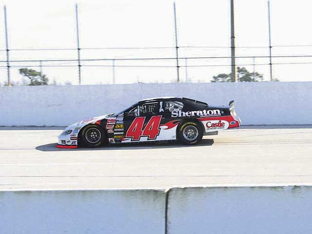 The Grizco car at speed at USA International Speedway in Lakeland,Florida. Sean Caisse is at the controls.