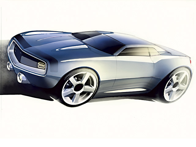 This early sketch takes virtually all its cues from the '69 RS/SS. Later designs would see influence from the Second-Gen Camaro and concurrent C6 Corvette styling.