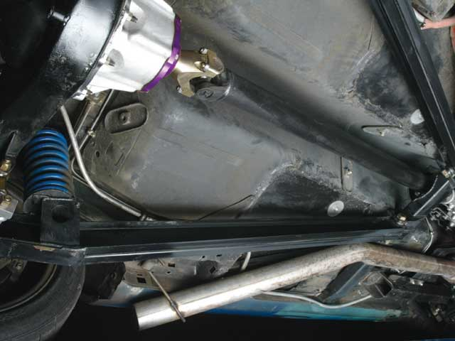 The key to the car's stability while drifting lies in the truck-arm rear suspension, similar to what you'd find in the average NASCAR Stock Car.