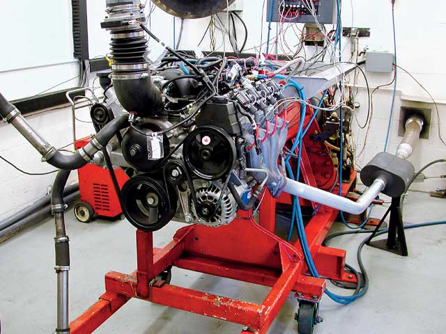 Here's the Scoggin-Dickey LS1 in Duttweiler's recently overhauled dyno cell. Note that all Car Craft tests on this engine are configured with a complete front dress assembly with only the A/C compressor missing. All our tests also included a complete exhaust system with a pair of Flowmaster mufflers.