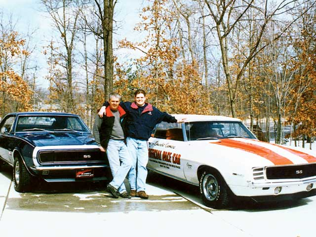 This is a photo of my dad Nicholas Trush with his '67 Camaro and my '69 before its final restification. This is one of my most cherished photos.