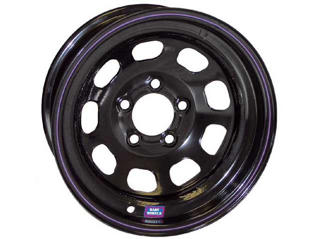 The Bart Late Model wheel features a specially designed high-strength center for the application. The wheel is available in sizes ranging from 15x7 to 15x14. There are also standard and lightweight versions available.