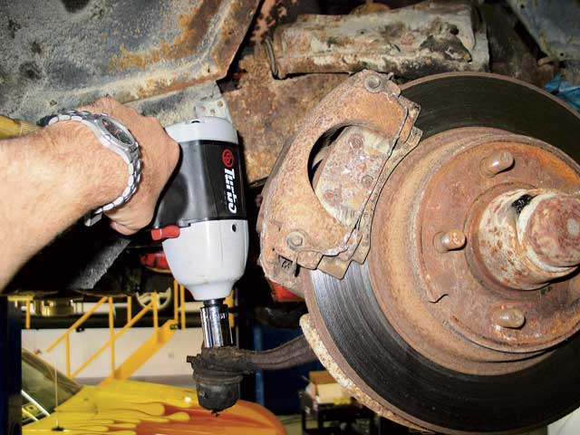 This is a good shot of our front brakes prior to being rebuilt. As rusty and old as they were, we were skeptical that any of our components could be re-used, but after an overhaul by Brake Tech Solutions they were looking and performing like new.