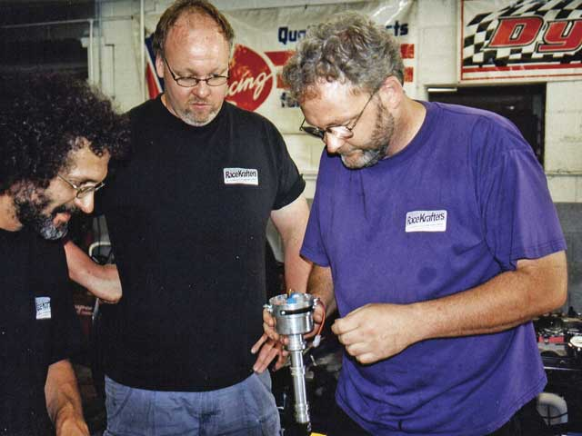 The crew at RaceKrafters is getting ready to recurve a Mallory distributor from a carburetor-equipped Third-Gen Firebird during a chassis dyno-tuning session. When completed, the car didn't ping and ended up gaining 40 rear-wheel horsepower on the same grade of pump gas.