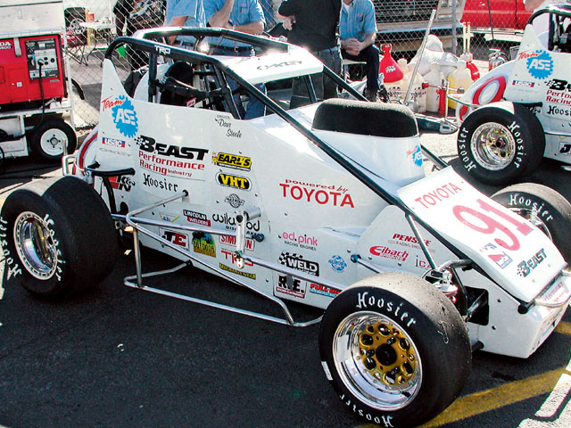 The debut of Steve Lewis' Toyota-powered midget proved impressive. Dave Steele sat on the pole and won the race.