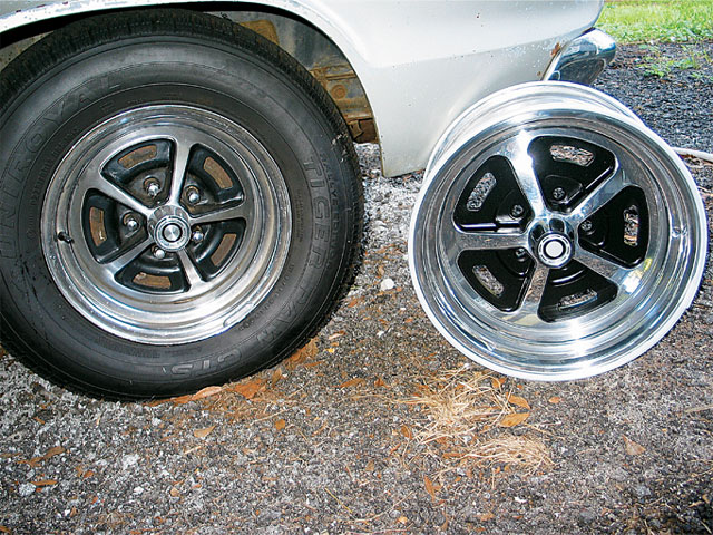Once you've selected a style of wheel for your car, the choices are not necessarily over. Wheel Vintiques offers factory appearing wheels like the one on the right that are made from either steel or billet aluminum. These wheels are available in many diameter and back-spacing configurations that weren't available from the factory.