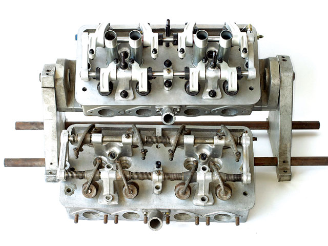 Compared to the original Ardun (bottom), the new kit (top) includes stronger rocker stands, billet-aluminum roller rockers with improved geometry and internal oiling restrictors, and beefier modern-tech valvesprings. Intake and exhaust ports are also improved.</p>         <div class=