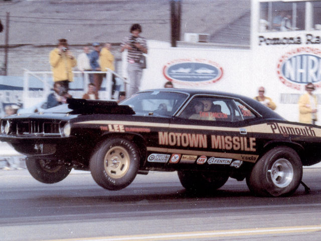 Don Carlton launches the legendary Motown Missile at Pomona Raceway.