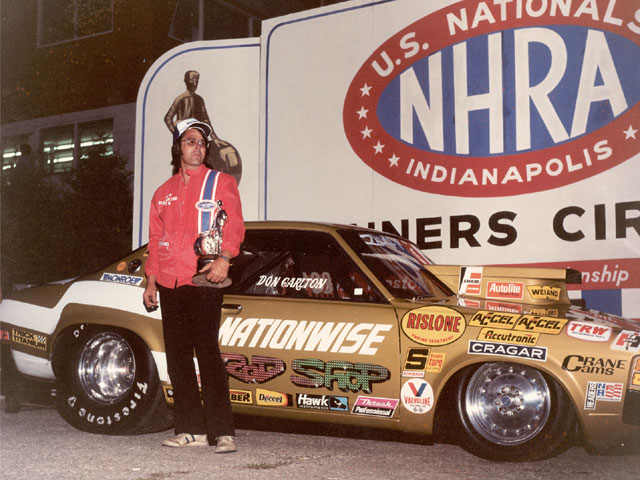 Don Carlton won the '76 NHRA Nationals at Indianapolis in this Dodge Colt. This is the car he would be killed in the following summer