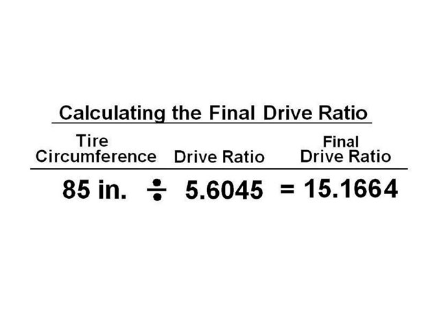 To calculate the final drive ratio (that includes the tire size) we divide the tire size by the drive ratio to get the final drive ratio. This number can be used to re-calculate the correct gear that would go with a new tire size.