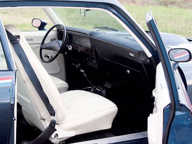 Very little separated the GTO's interior from the Ventura's. A cloth-covered bench seat was standard while vinyl covering or buckets were optional. One option-U17 Rally Gauge Cluster and Tachometer-required the D55 Front Seat Console and A51 Bucket Seats. Gauges were located on the console and allowed the driver to monitor the engine's vitals. The tachometer was just left of the speedometer in the void left by the displaced fuel gauge. Few convenience options were standard, and some, such as power windows, power door locks, and the stereo tape player were not available at all.