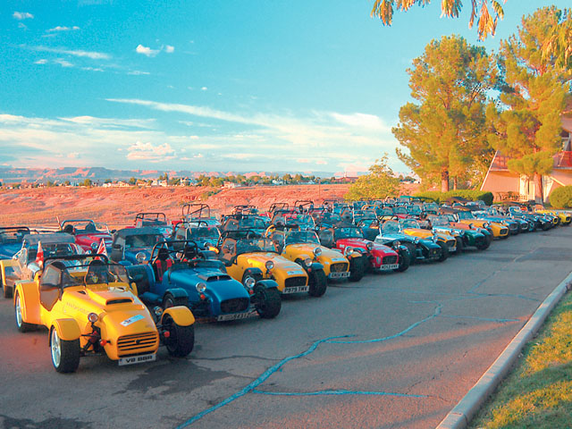 Early one morning the owners gathered their cars for a photo opportunity. About 50 Caterhams, 6 Westfields, 6 Birkens, 3 original Lotus', 2 Ultralites, a Robin Hood, plus a group of support vehicles get ready for a 21-day, 4,000-mile trip from Houston, TX, to the  San Francisco Bay.