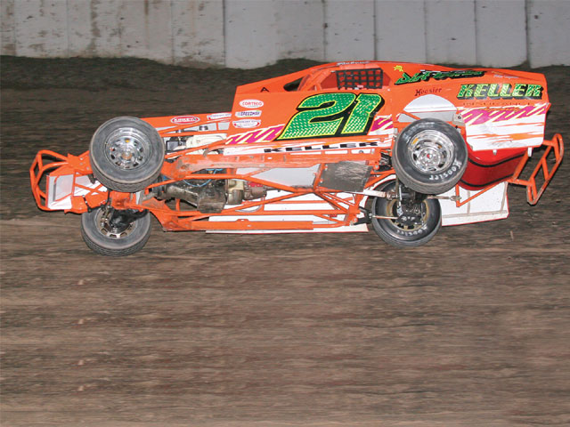 Thanks to Rob Keller for this great underside view of an IMCA mod. Note the simplicity of these cars. They use stock front stubs mated to fabricated rear clips and rollcages. Photo by Joe Alexander