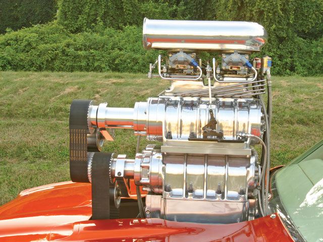 These two Stage 2 BDS blowers are capable of flowing 435 (8-71) and 411 (6-71) ci of air per revolution each when run 1:1 with the crank. The NOS can add a 300hp shot, but to use it all at the same time requires a large bucket to pickup the scattered crank and connecting-rod shrapnel.