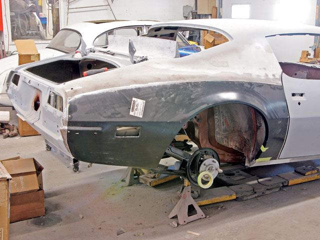 Photographed at Chalek's Auto Body, this reproduction Pontiac body panel is a quarter-skin. As such, it doesn't extend into the sail panel, doorjamb, or rear body-panel areas, which can be viewed as an advantage or disadvantage depending upon the condition of the project car.