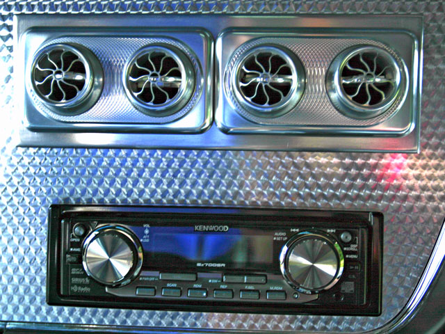 The air-conditioning outlets are constructed of billet aluminum. A Kenwood stereo equipped with satellite radio is another creature comfort that makes this GTO suitable for extended cruising.